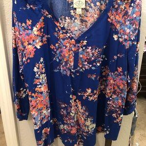 St Johns Bay blue/purple floral tunic size large